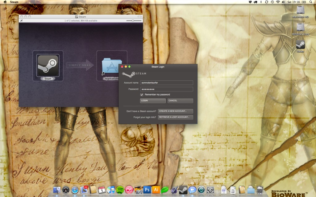 A screenshot of the log in screen for the Mac OS X Steam client.