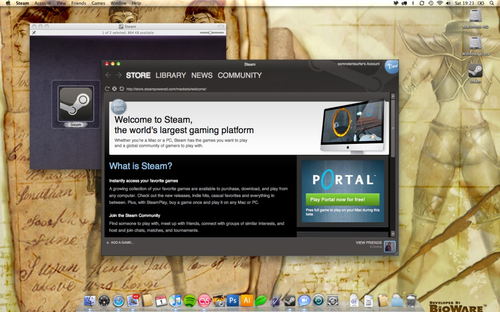 A screenshot of the temporary beta homepage, where the Mac games store will be when the beta is over.
