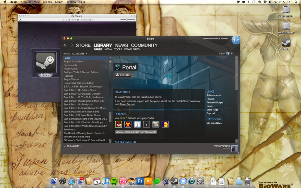 A screenshot of the Steam games library, showing Portal as available for download under OS X.